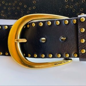 Michael Kors Brown Leather Studded Belt Size Small